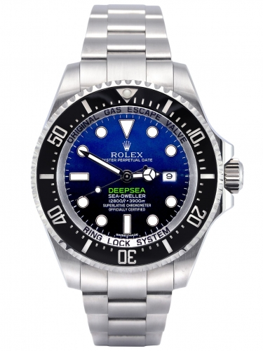 Front view image of a stainless steel Rolex Sea-Dweller Deepsea 116660 with the unique D-Blue dial commemorating James Cameron's famous deep dive