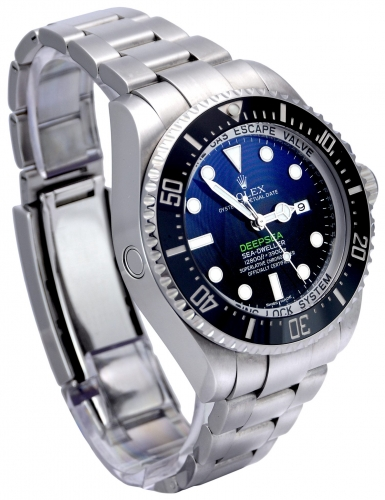 Side view image of a stainless steel Rolex Sea-Dweller Deepsea 116660 with the unique D-Blue dial commemorating James Cameron's famous deep dive