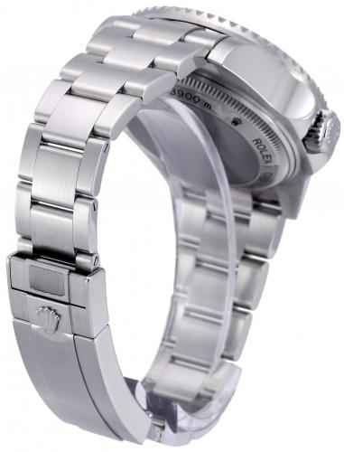 Bracelet clasp view image of a stainless steel Rolex Sea-Dweller Deepsea 116660 with the unique D-Blue dial commemorating James Cameron's famous deep dive