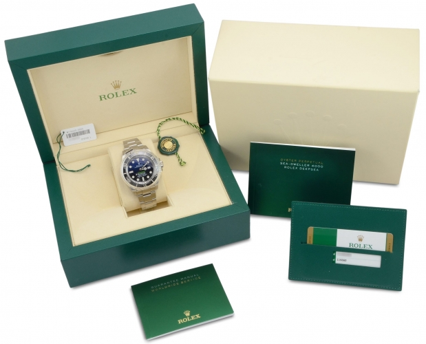 Box and papers included with a stainless steel Rolex Sea-Dweller Deepsea 116660 with the unique D-Blue dial commemorating James Cameron's famous deep dive