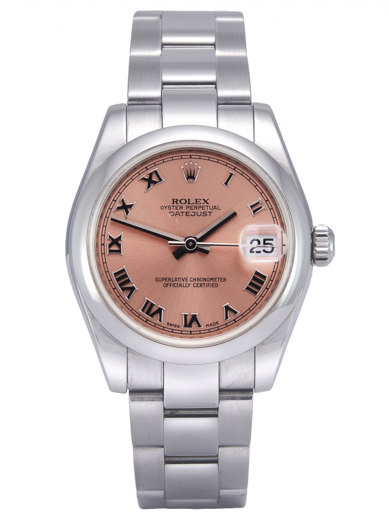 Front view image of a stainless steel Rolex Lady-Datejust 178240 with a pink dial and smooth bezel