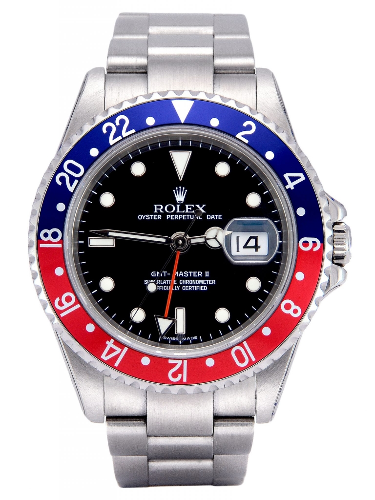 Front view image of a stainless steel Rolex GMT-Master II 16710 Pepsi which has been recently returned from Rolex service