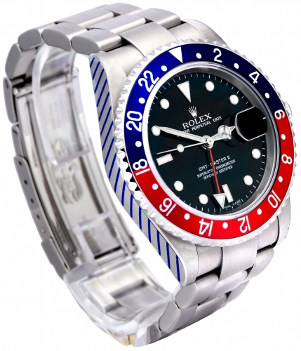 Side view image of a stainless steel Rolex GMT-Master II 16710 Pepsi which has been recently returned from Rolex service