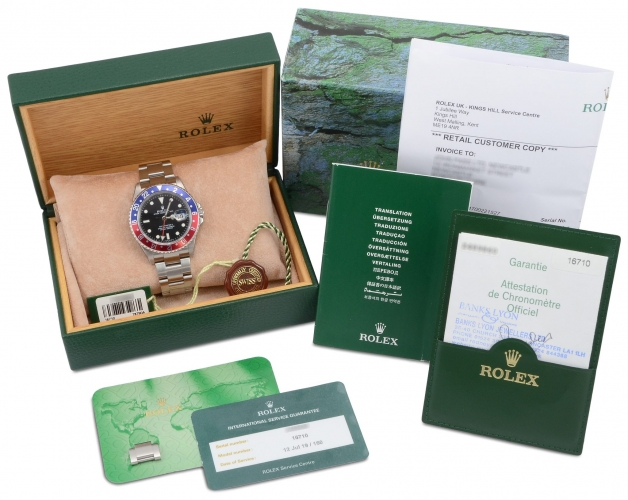 Box and documentation included with a stainless steel Rolex GMT-Master II 16710 Pepsi which has been recently returned from Rolex service