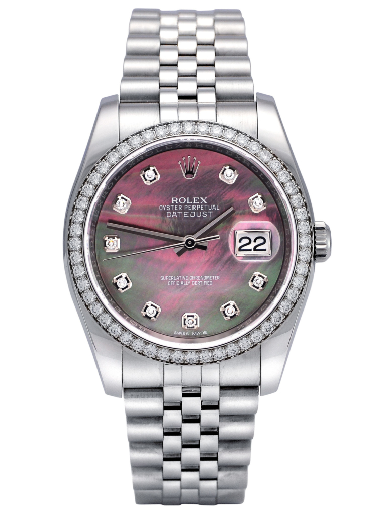 Front view image of a used Rolex Datejust 116244 with a black mother of pearl diamond dot dial and presented on a Jubilee bracelet