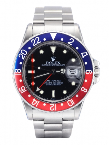 Front view image of a beautifully aged vintage Rolex GMT-Master 16750 Pepsi