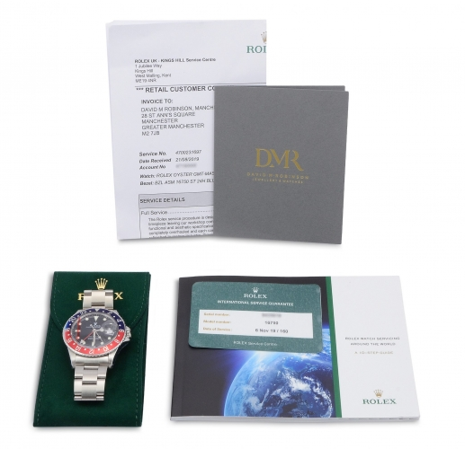 Documentation & accessories included with the beautifully aged vintage Rolex GMT-Master 16750 Pepsi