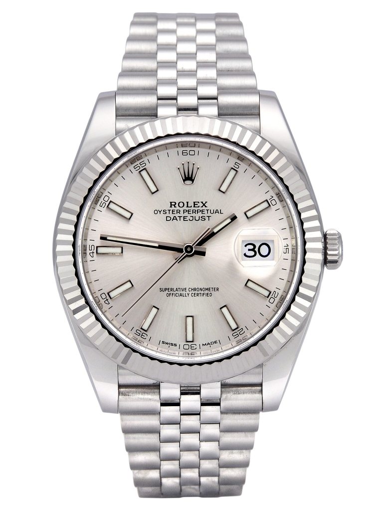Front view of a stainless steel Rolex Datejust II 116344