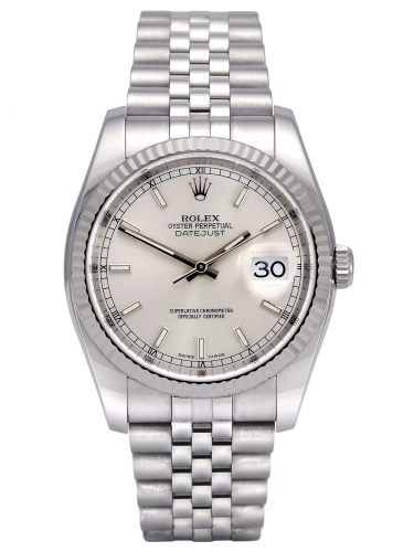 Front view of a stainless steel Rolex Datejust 116234