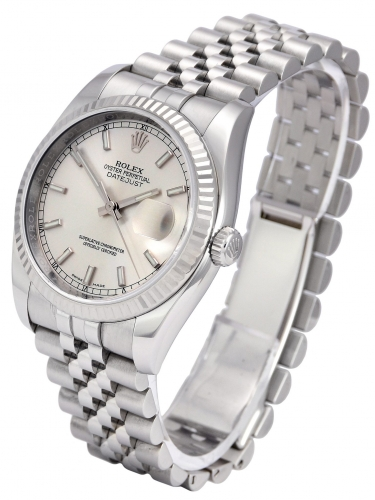 Side view of a stainless steel Rolex Datejust 116234