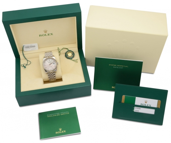 Box and papers included with a stainless steel Rolex Datejust 116234