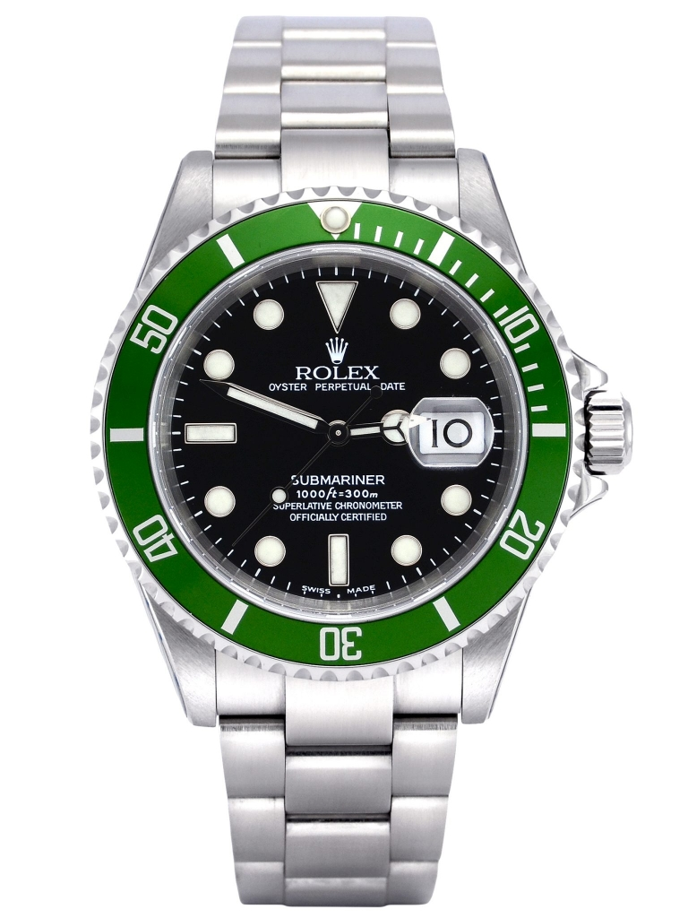 "Front view of Rolex Submariner Date 16610LV featuring a very hard to find B1 ""serif"" bezel insert"