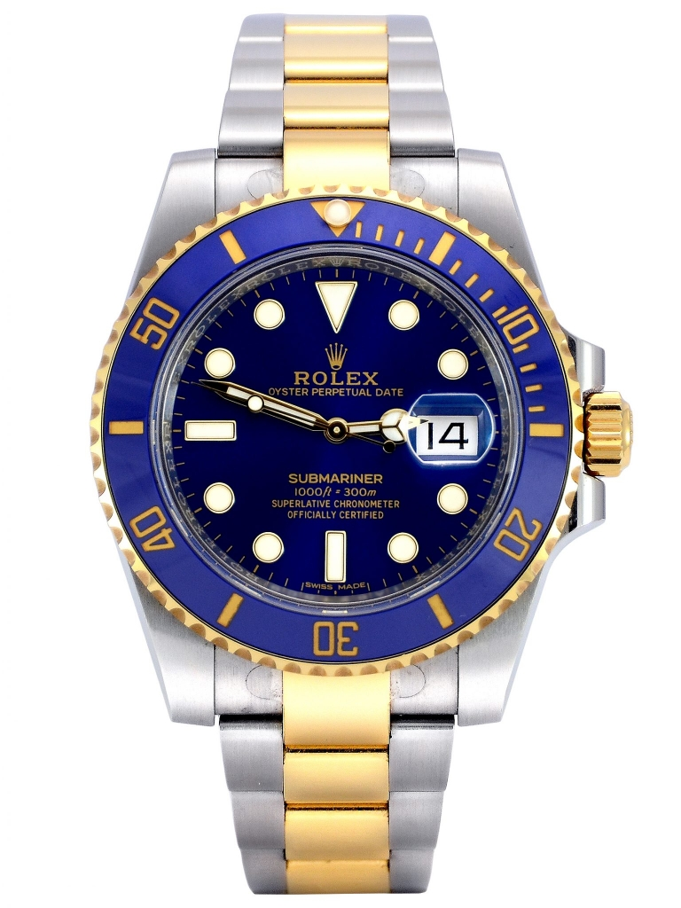 Front view of bimetal Rolex Submariner Date 116613LB with a blue ceramic bezel insert and blue dial