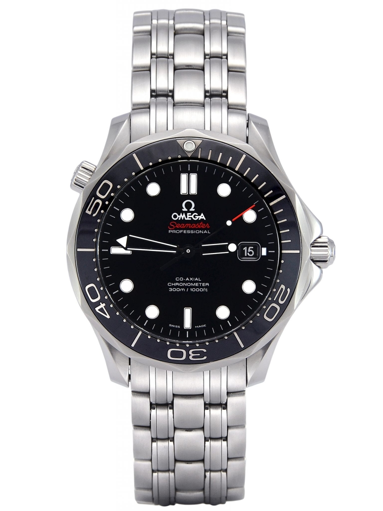 Front view of Omega Seamaster Professional 300m 212.30.41.20.01.003 with a black baton dial