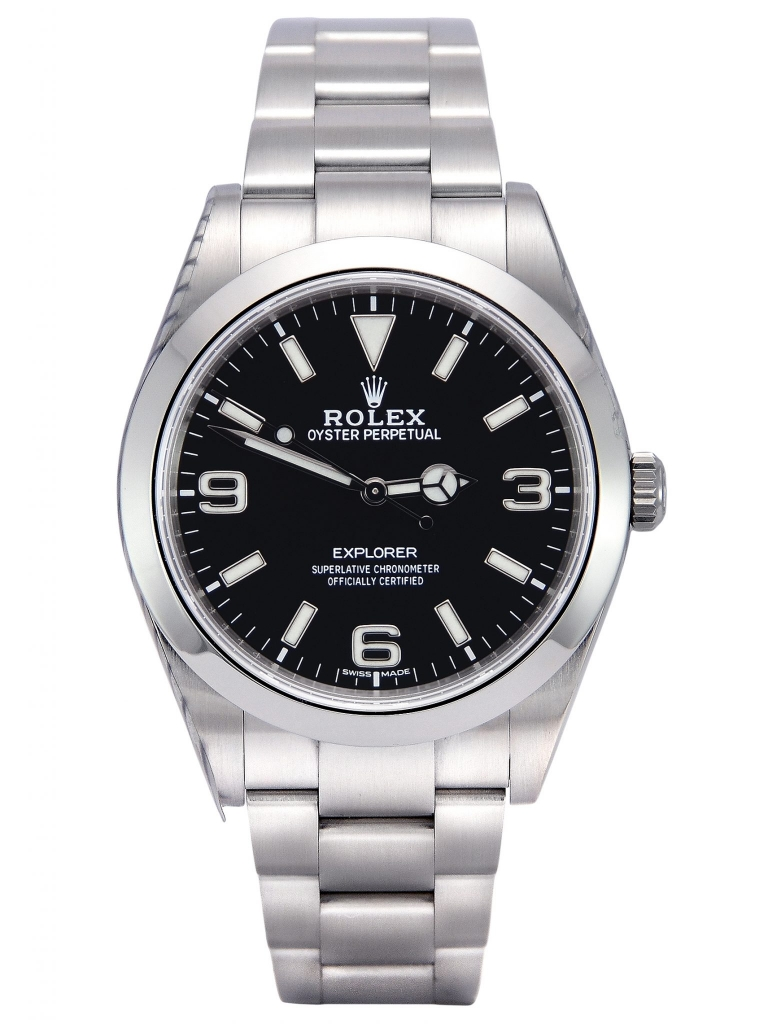 Front view of a stainless steel Rolex Explorer I 214270 with a black MK2 dial and stainless steel domed bezel