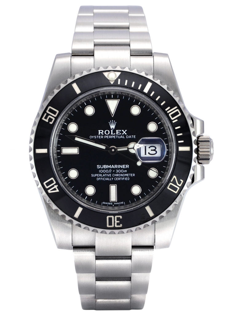 Front view of Rolex Submariner Date 116610LN in stainless steel with a black dial and black ceramic bezel