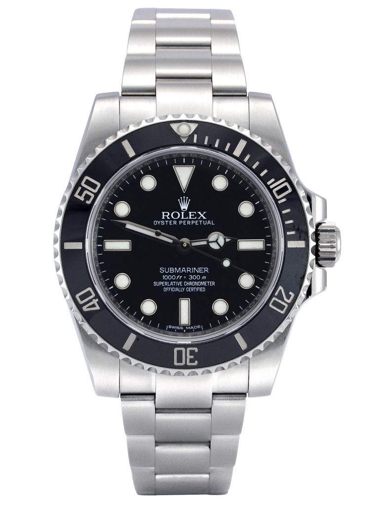 Front view of Rolex Submariner No Date 114060 in stainless steel with a black dial and black ceramic bezel