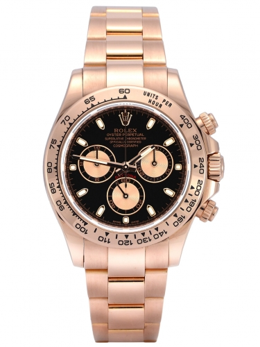 Front view of rose gold Rolex Daytona 116505 with a black dial and everose gold subdials