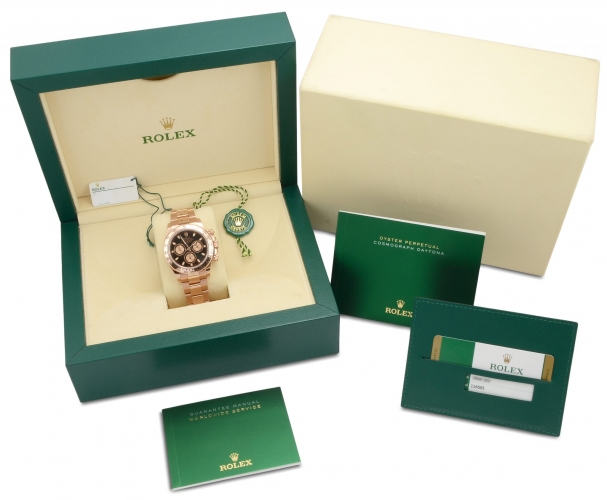 Box and papers included with rose gold Rolex Daytona 116505 with a black dial and everose gold subdials