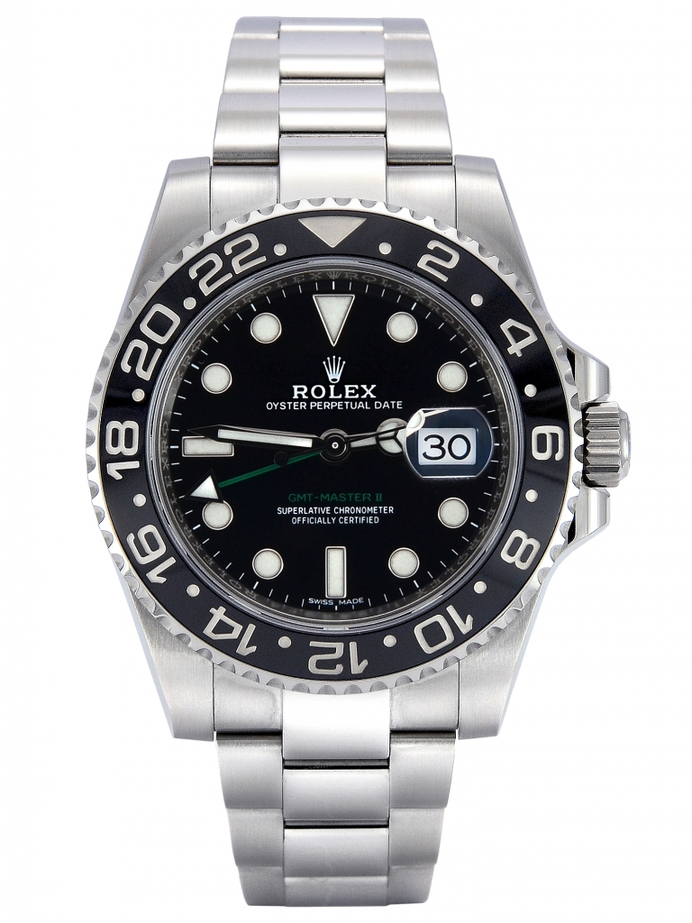 Front view of stainless steel Rolex GMT-Master II 116710LN with a black dial and black ceramic bezel insert