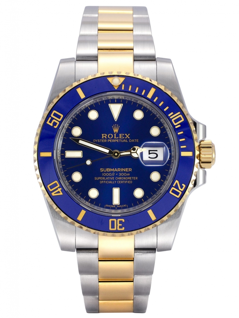 Front view of a 2019 bimetal Rolex Submariner Date 116613LB in stainless steel & yellow gold with a blue bezel insert and blue dial