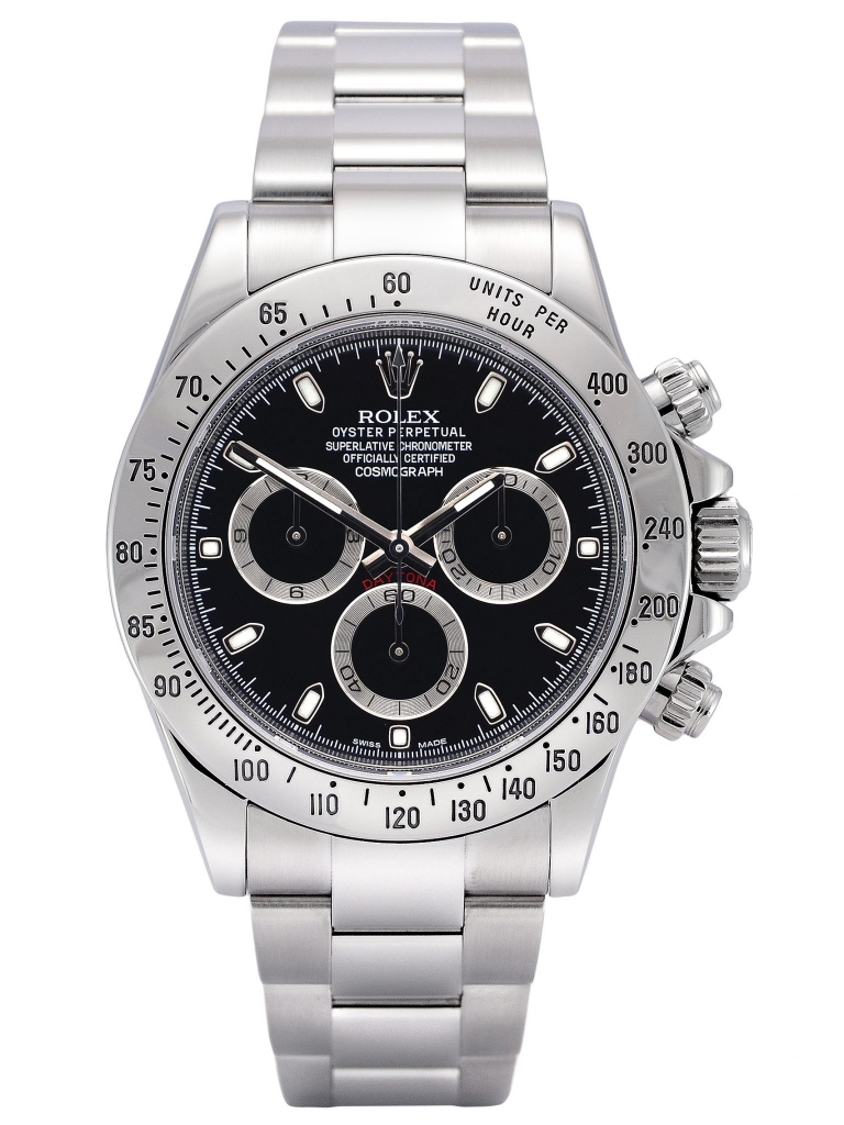 Front view of a stainless steel Rolex Daytona 116520 with the rare black APH dial