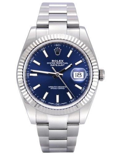 Front view image of a stainless steel Rolex Datejust 126334 with a blue baton dial and a white gold fluted bezel