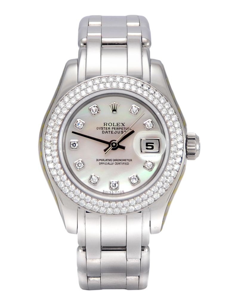 Front view of a white gold 29mm Rolex Pearlmaster 80339, with a diamond set bezel and a white mother of pearl diamond dot dial