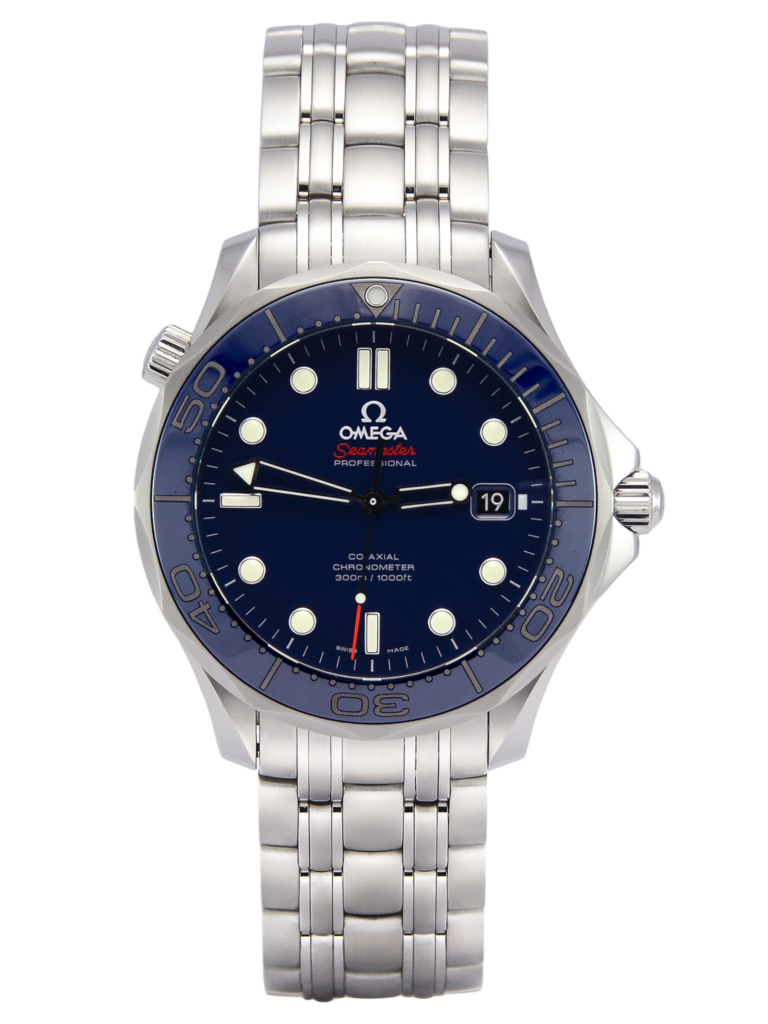 Front view of Omega Seamaster 212.30.41.20.03.001 300M diver's watch, with a navy blue dial and ceramic bezel