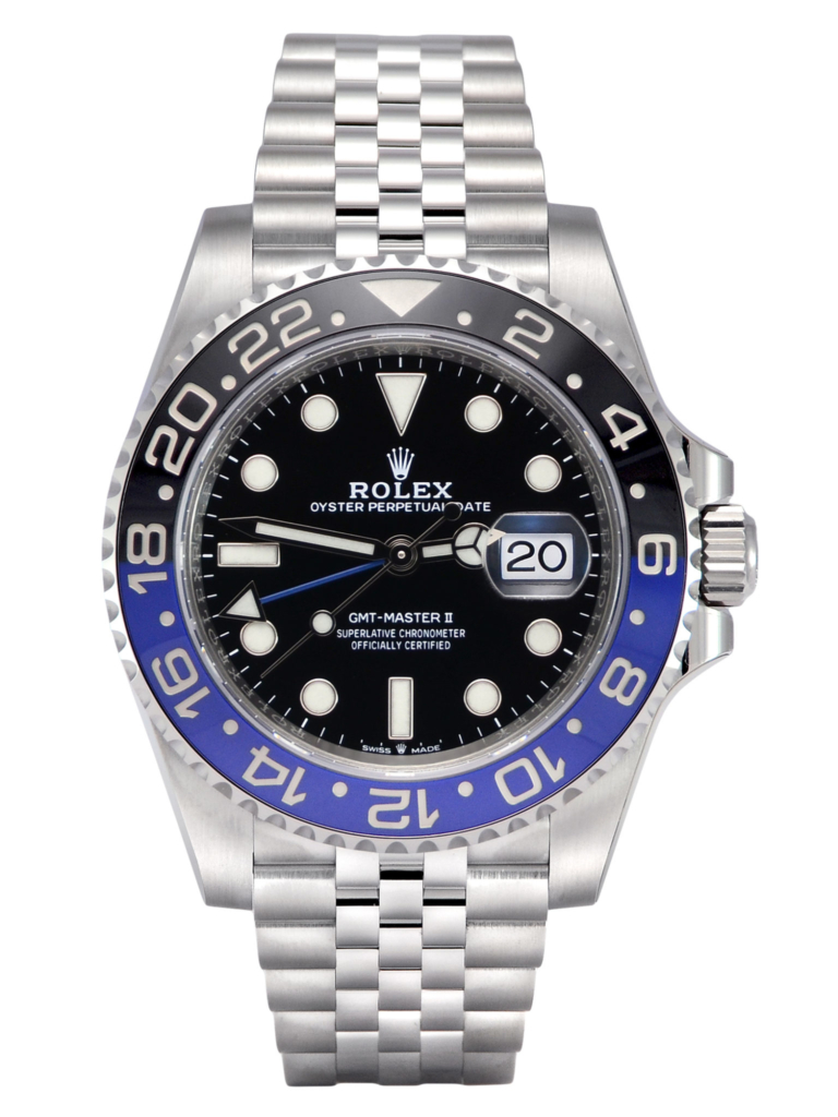 "Front view of Rolex GMT-Master II 126710BLNR ""Batman""/""Batgirl"", a 2020 brand new watch with box & papers"