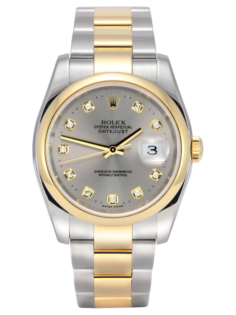 Front view image of a bimetal grey diamond dot dial Rolex Datejust 116203, with a yellow gold polished finish domed bezel and a stainless steel & yellow gold Oyster bracelet