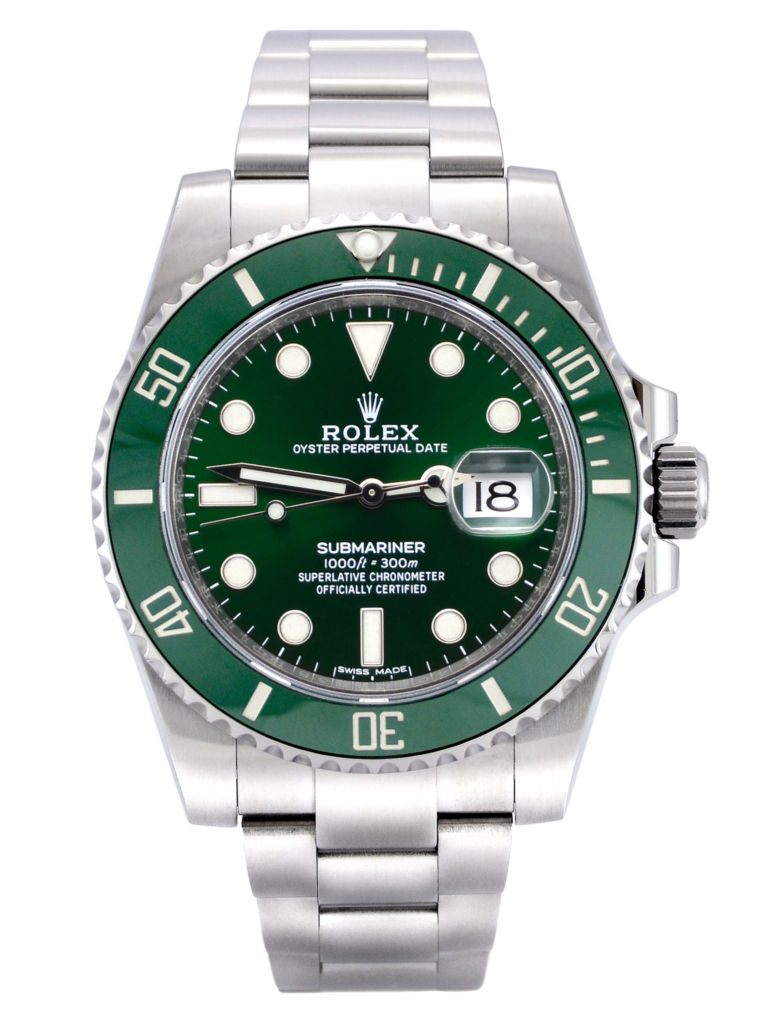 """Front view image of a stainless steel Rolex Submariner Date 116610LV """"Hulk"""" with a green sunburst effect dial and green bezel"""