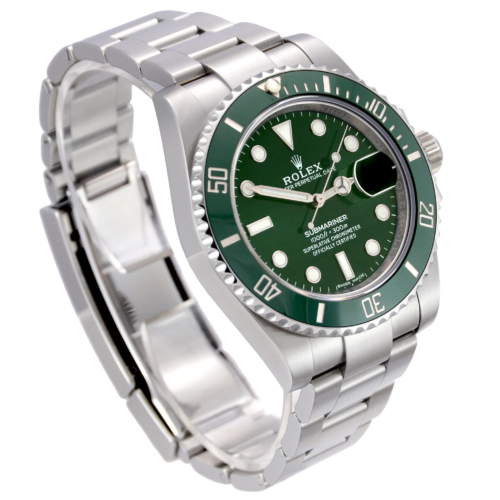"""Side view image of a stainless steel Rolex Submariner Date 116610LV """"Hulk"""" with a green sunburst effect dial and green bezel"""