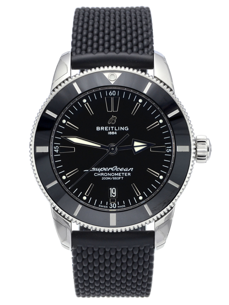Front view image of Breitling Superocean Héritage II AB2030121B1S1 with a black dial and black rubber strap
