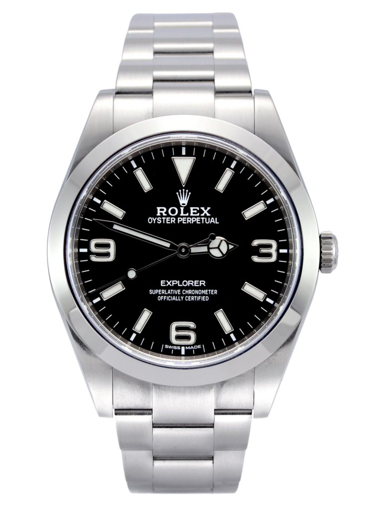 Front view image of a stainless steel 39mm Rolex Explorer I 214270 with a stainless steel Rolex Oyster bracelet and a mark 2 dial with luminous numerals