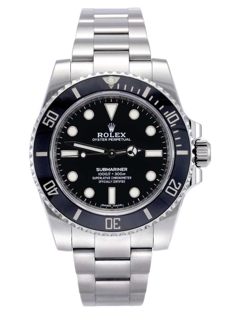 Front view image of a previously owned stainless steel Rolex Submariner No Date 114060 with a black dial and black ceramic bezel