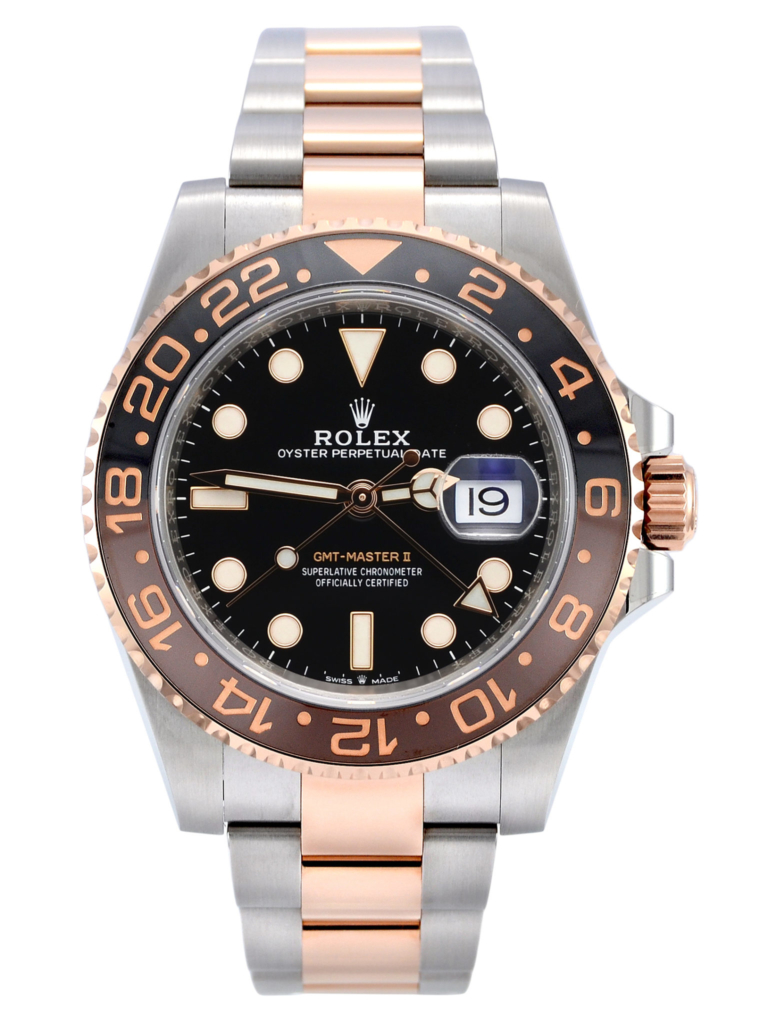 "Image of a stainless steel & rose gold Rolex GMT-Master II 126711CHNR ""Rootbeer"""