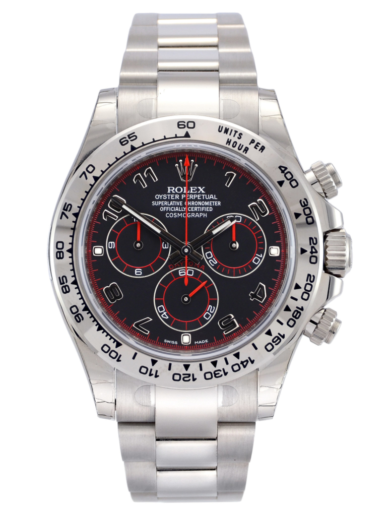 Front view image of a white gold 40mm Rolex Daytona 116509 featuring the desirable black & red racing dial