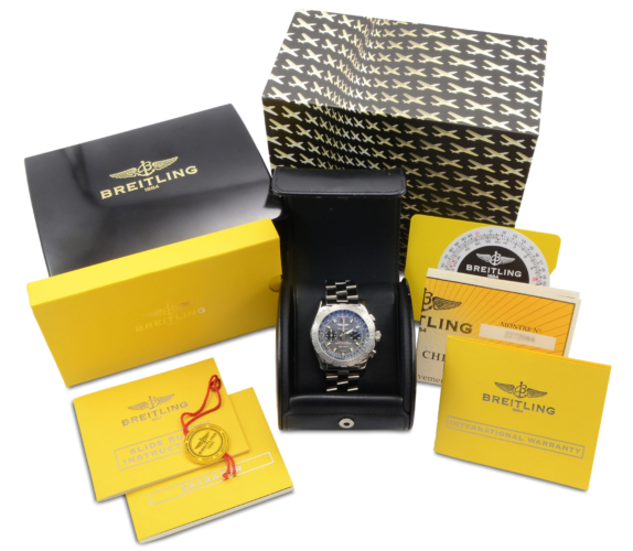 Box & papers of a second hand, stainless steel Breitling Skyracer Grey A2736223/F532, complete with box & papers