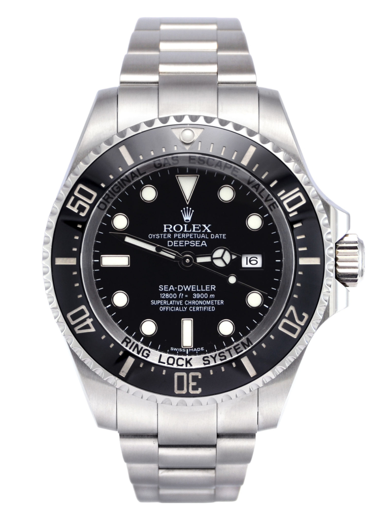 Front view image of a pre-owned, 2016, stainless steel Rolex Sea-Dweller Deepsea 116660 with a classic black dial