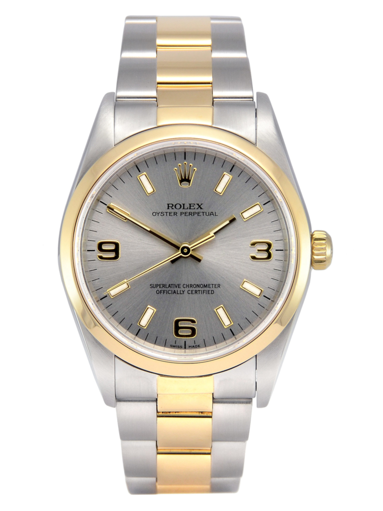 Front view image of a bimetal Rolex Oyster Perpetual 14203M in stainless steel & yellow gold, with a beautiful grey dial