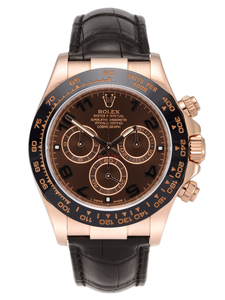 Front view image of a chocolate dial Rolex Daytona 116515LN with a black ceramic bezel and a black leather strap