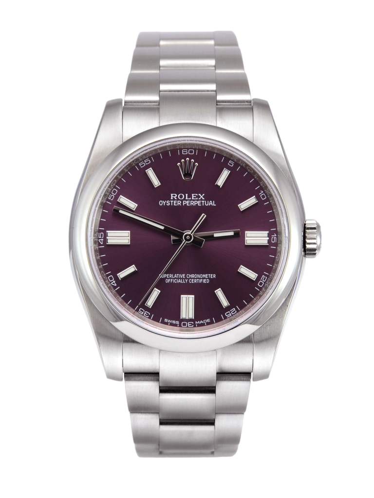 Front view image of a used Rolex Oyster Perpetual 116000, 36mm case size, on a stainless steel Oyster bracelet with a starburst effect red grape dial