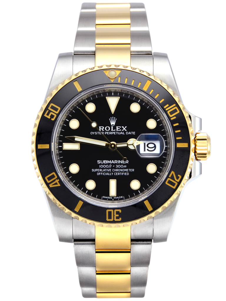 Front view image of a second hand Rolex Submariner Date 116613LN bimetal in stainless steel & yellow gold, supplied complete with box & papers