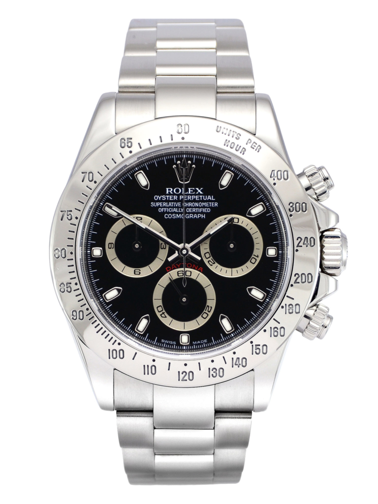 Front view image of a second hand black dial Rolex Daytona 116520
