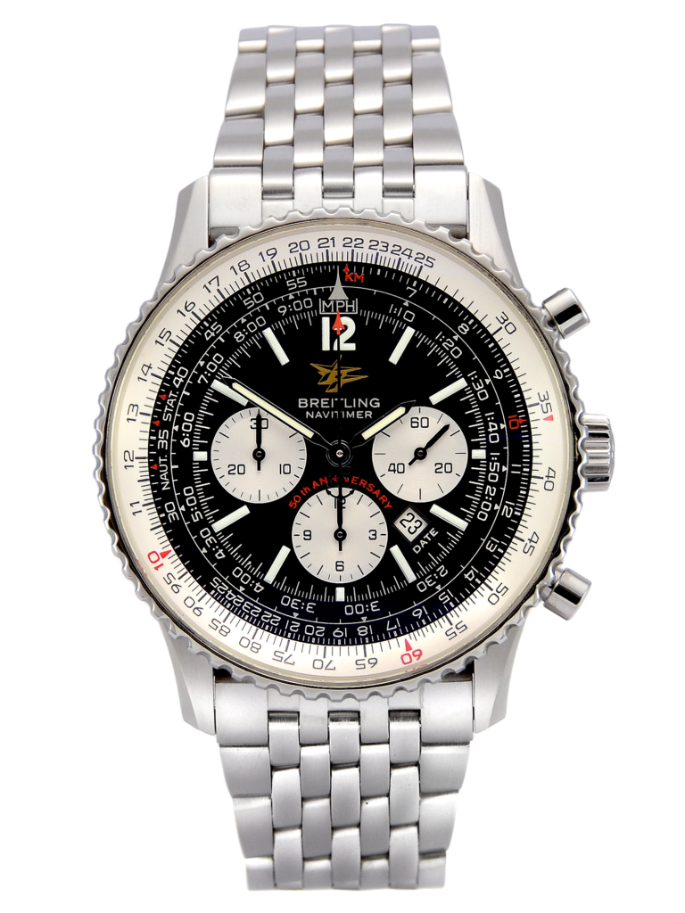 Front view of a previously owned Breitling Navitimer A41322 50th Anniversary Special Edition in stainless steel with a black dial