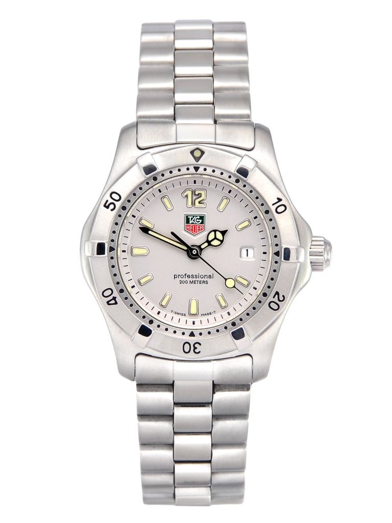 A front view image of a pre-owned TAG Heuer 2000 Professional Series WK1312 ladies' watch with a silver baton dial.