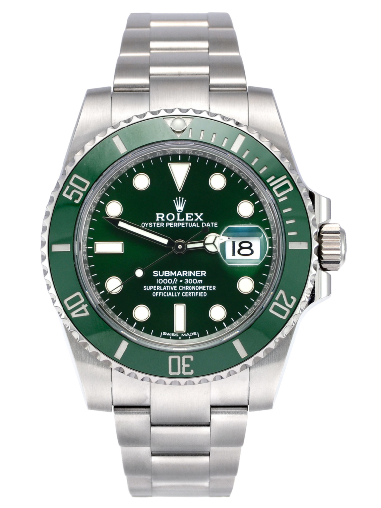 """Image of a pre-owned stainless steel 40mm Rolex Submariner Date 116610LV """"Hulk"""" with green dial and green bezel, sold complete with box & papers"""