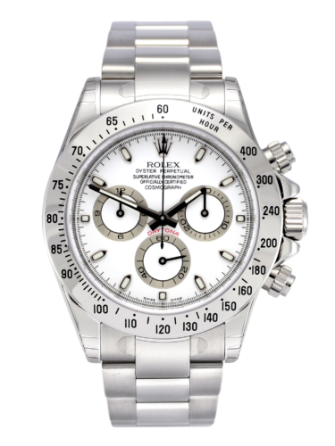 Front view image of a NOS Rolex Daytona 116520