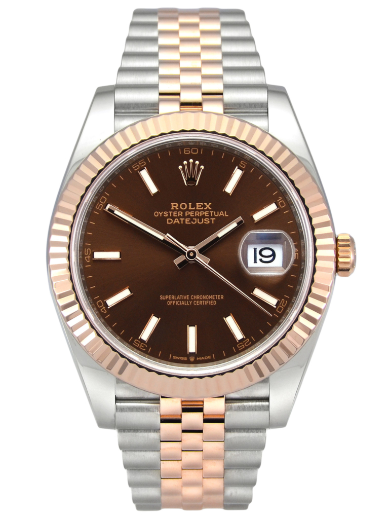 Rolex Datejust 41 126331 in stainless steel and rose gold, with a chocolate dial